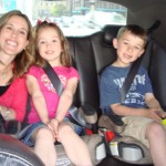 Colleen from Classy Mommy with her daugther Kenzie and my son Nate in the back of the car