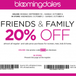 20% Off Coupon Code for Bloomingdales: Friends & Family