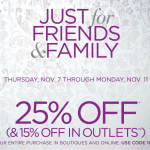 Friends & Family 25% Off at White House Black Market Coupon Code