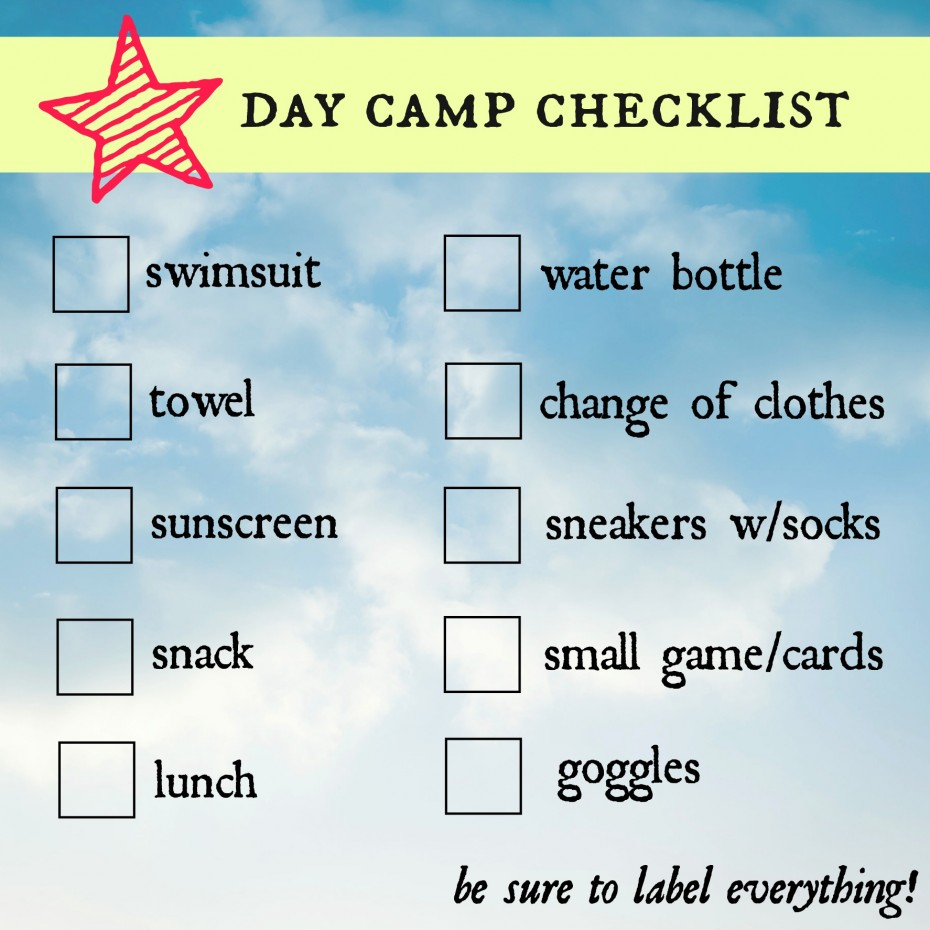 Summer Day Camp Checklist